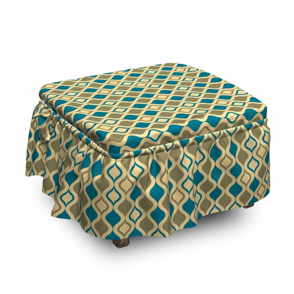 Vertical Ogee Shapes Ottoman Slipcover (Set Of 2) By East Urban Home