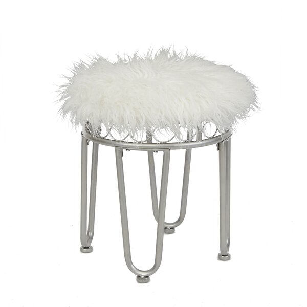 Parise Vanity Stool with Hairpin Legs by Wrought Studio