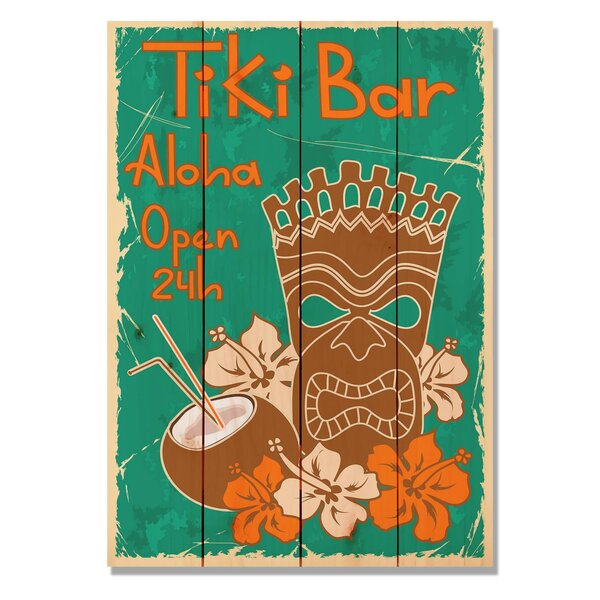 4 Piece Wile E. Wood Tiki Bar Vintage Advertisement Set by Gizaun Art