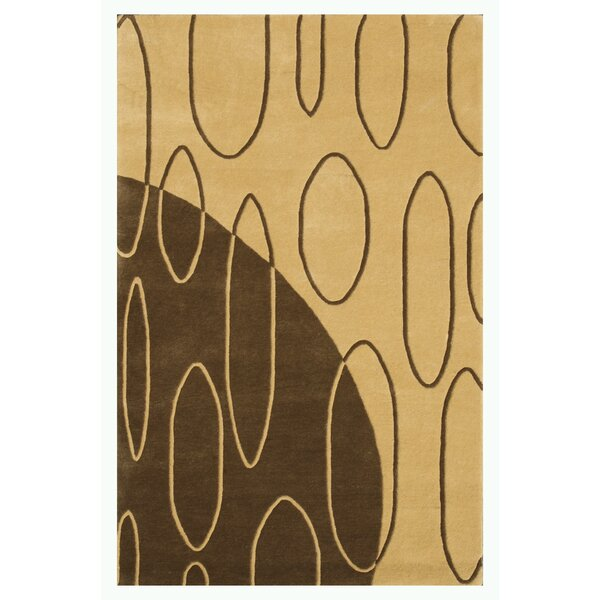 Aria Light Gold Shag Area Rug by Noble House