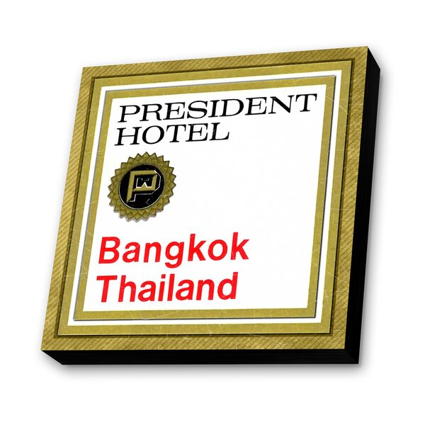 President Hotel Bangkok, Thailand Textual Art Plaque by Lamp-In-A-Box