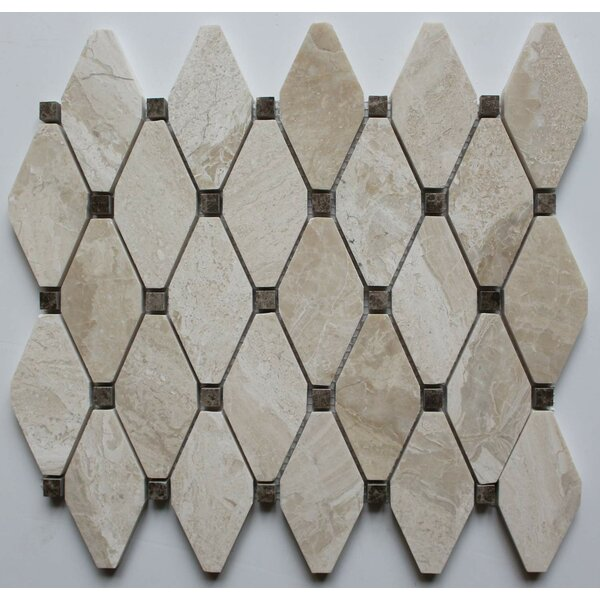 2 x 2 Marble Mosaic Tile in Diana Royal with Emperador Dot by Ephesus Stones