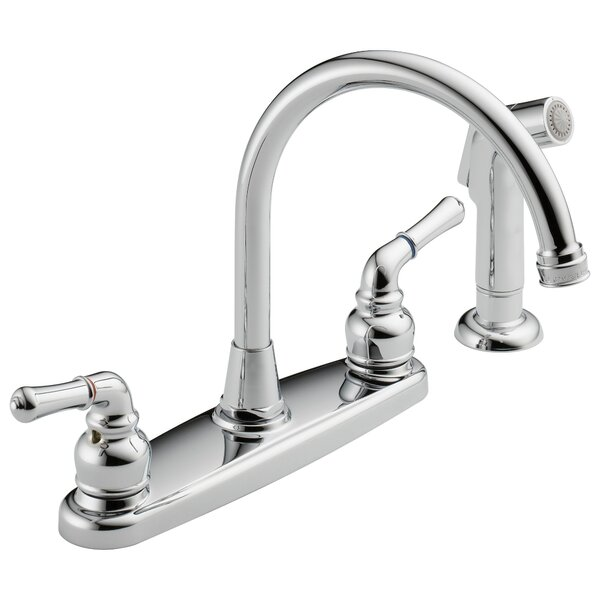 Hi-Arc Double Handle Standard Kitchen Faucet with Side Sprayer by Westbrass Westbrass