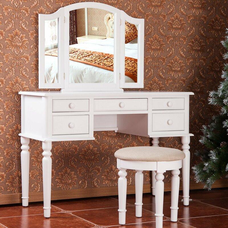 vanity set without mirror. Vanity Set with Mirror Merax  Reviews Wayfair