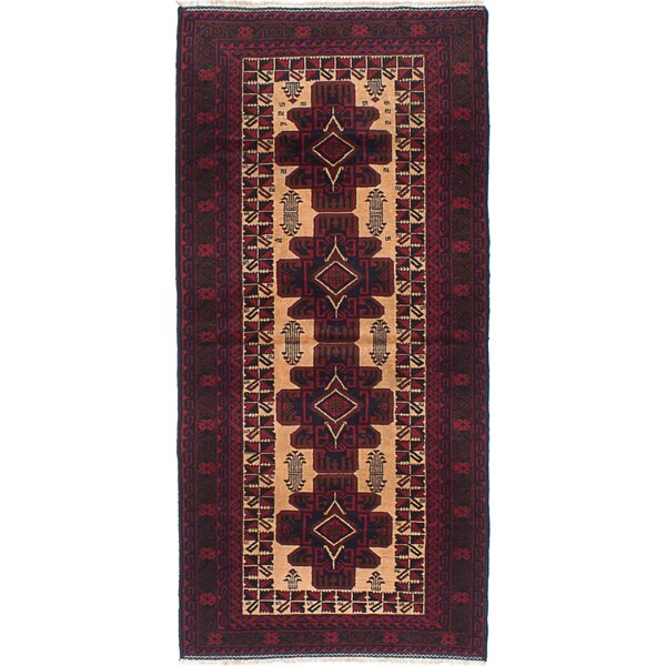 One-of-a-Kind Caya Hand-Knotted Red and Ivory Area Rug by Isabelline