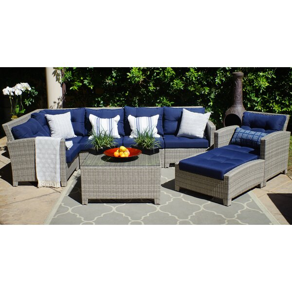 Dowdy Olefin 8 Piece Sectional Seating Group with Cushions by Rosecliff Heights