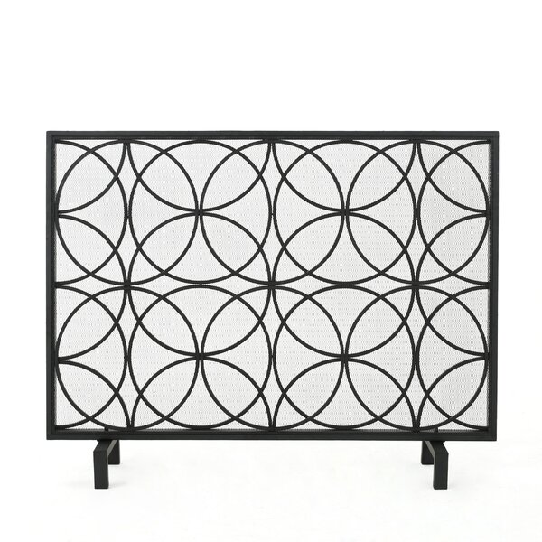 Thayer Single Panel Iron Fireplace Screen by Winston Porter
