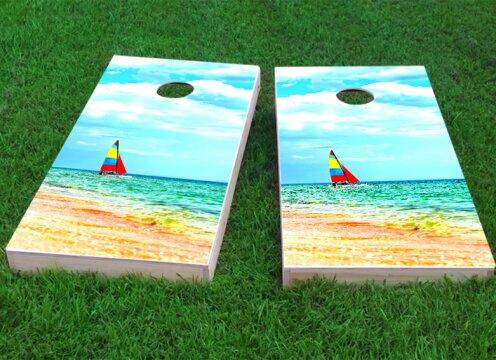 Boat Beach Cornhole Game (Set of 2) by Custom Cornhole Boards