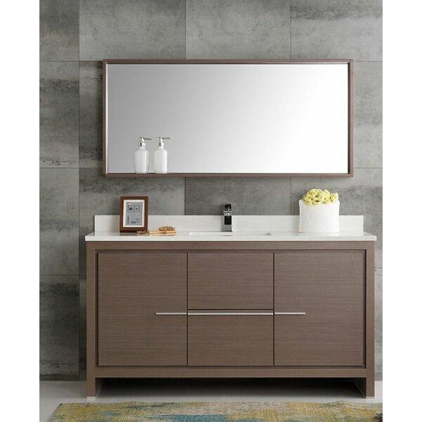 Trieste 60 Allier Single Modern Sink Bathroom Vanity Set with Mirror by Fresca