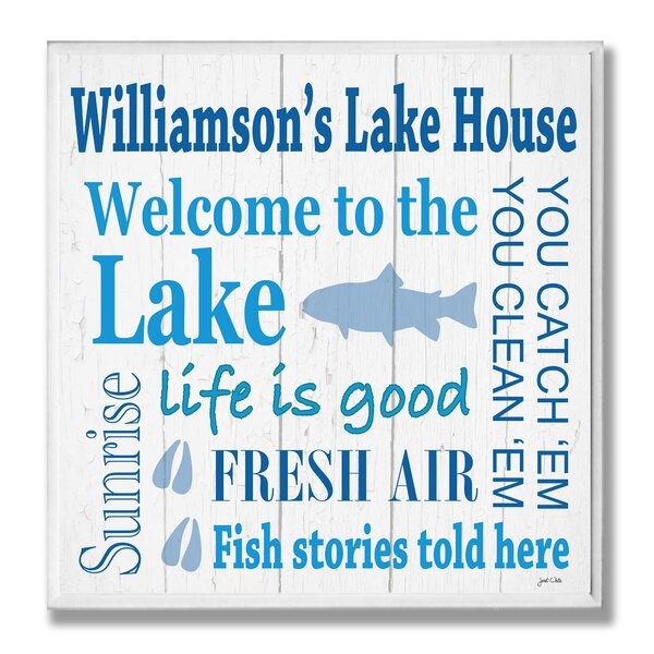 Personalized Lake House with Fish Square Textual Art Plaque by Stupell Industries