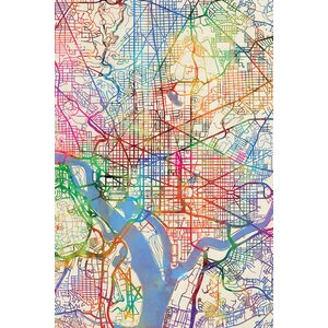 Urban Rainbow Street Map Series: Washington, D.C., USA Graphic Art on Wrapped Canvas by East Urban Home