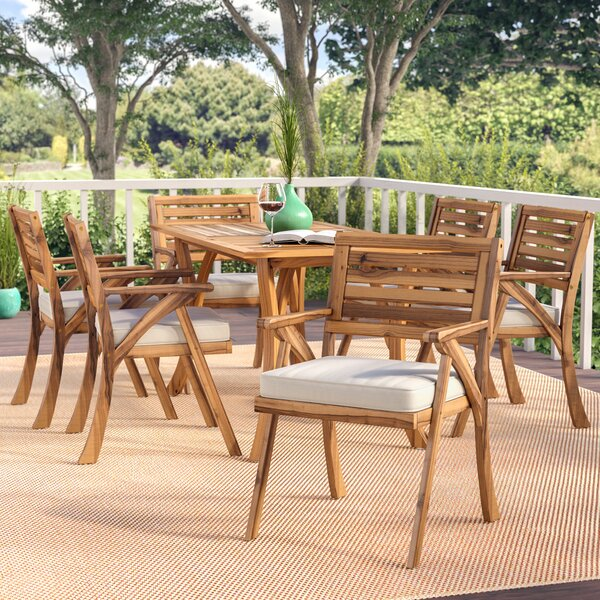 Coyne 7 Piece Teak Dining Set with Cushions by Beachcrest Home