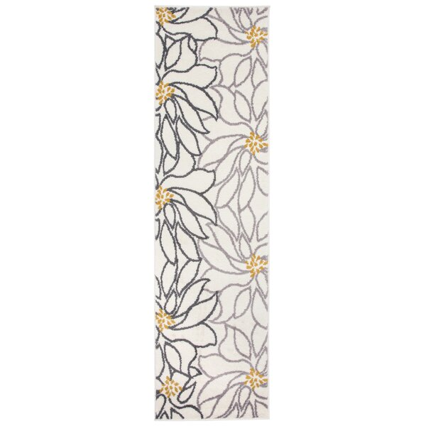Theo Contemporary Large Floral Cream Area Rug by Winston Porter