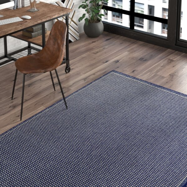 Cadencia Saddle Stitch Blue Indoor/Outdoor Area Rug by Trent Austin Design