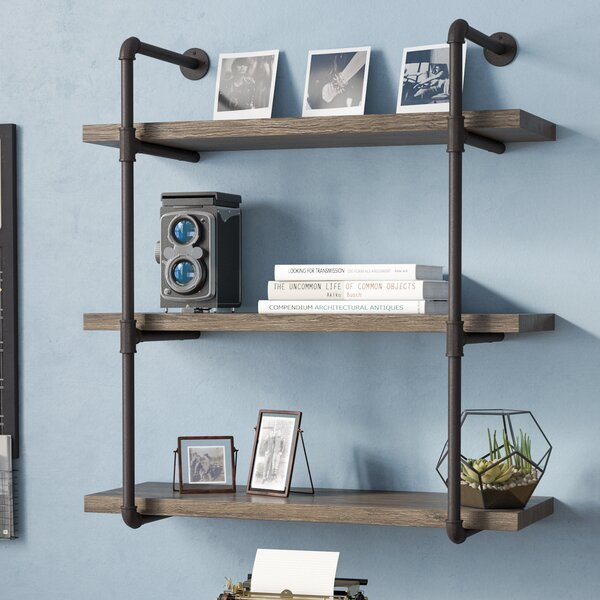 Kennard 3 Tier Industrial Pipe Wall Shelf by Greyleigh