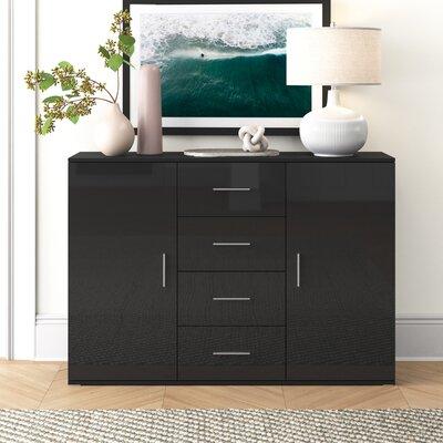 """Orren Ellis Sabala 52"""" Wide 4 Drawer Sideboard  Color: Black"""