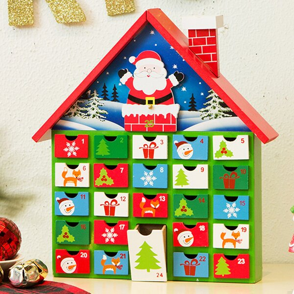 Wood House Count Down Calendar with Drawer by The Holiday Aisle