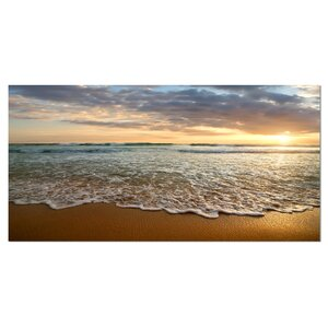 Bright Cloudy Sunset in Calm Ocean Photographic Print on Wrapped Canvas by Design Art