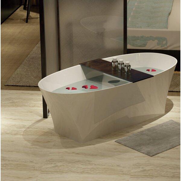 Solid Surface Resin 67 x 32 Freestanding Soaking Bathtub with Internal Drain by Streamline Bath