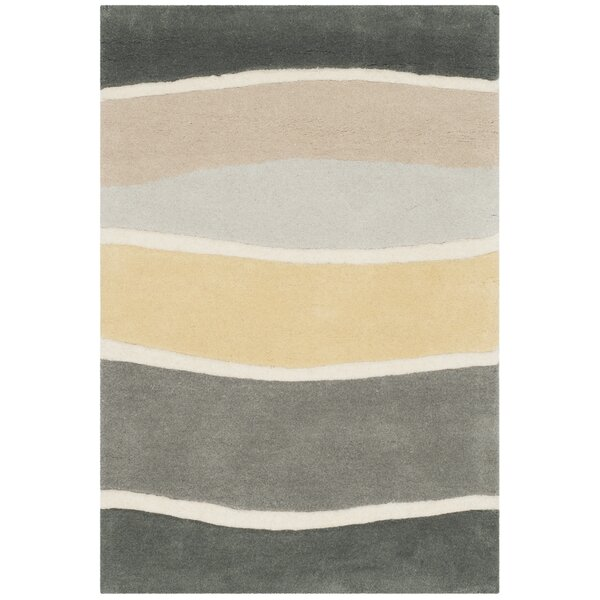 Schaub Hand-Tufted Gray / Gold Area Rug by Wrought Studio