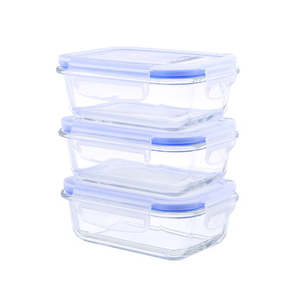 Go Green Glasslock Elements 36 Oz. Food Storage Container (Set of 3) by Kinetic