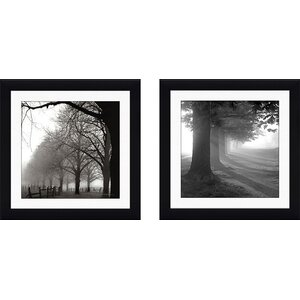 'Misty Trees' 2 Piece Framed Photographic Print Set by Loon Peak