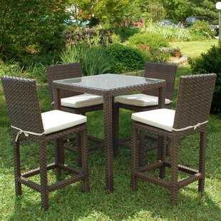 Wrisley 5 Piece Bar Height Dining Set with Cushion By Beachcrest Home
