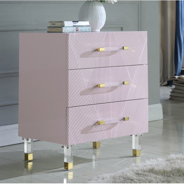 Ekstrom 3 Drawer Nightstand by Everly Quinn