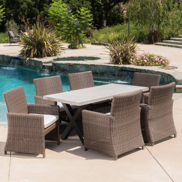 Hostetler Outdoor 7 Piece Dining Set with Cushions by Brayden Studio