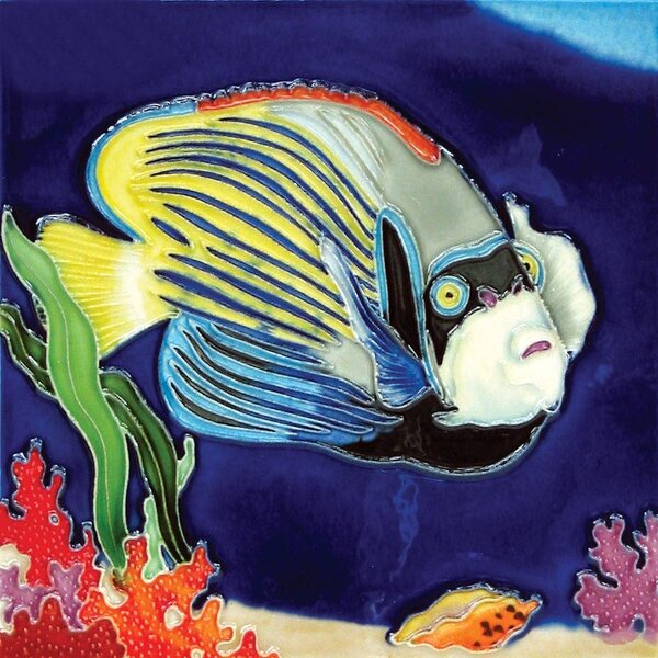 Marine Fish Blue With Yellow Stripes Tile Wall Decor by Continental Art Center