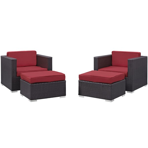 Ryele 4 Piece Outdoor Patio Sectional Set with Cushion by Latitude Run
