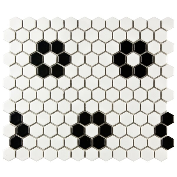 Retro 10 x 12 Porcelain Mosaic Tile in White/Black by EliteTile