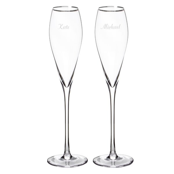 Personalized Champagne Flute Glass (Set of 2) by Cathys Concepts