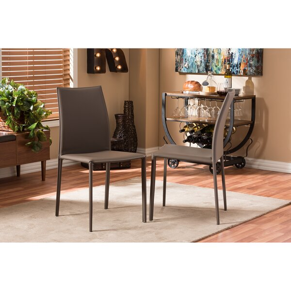 Baxton Studio Genuine Leather Upholstered Dining Chair (Set of 2) by Wholesale Interiors