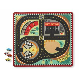 Read Reviews Round the Speedway Race Track 5 Piece Floor Mat Set By Melissa & Doug