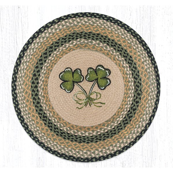 Shamrock Round Green Patch Area Rug by Earth Rugs