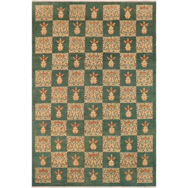 Emmalyn Hand-Knotted Wool Green Area Rug