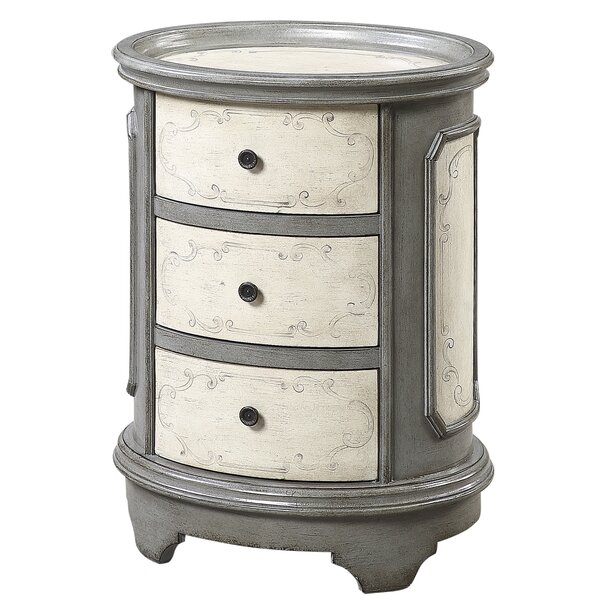 Ophir Tray Top Drum 3 Drawer End Table By One Allium Way