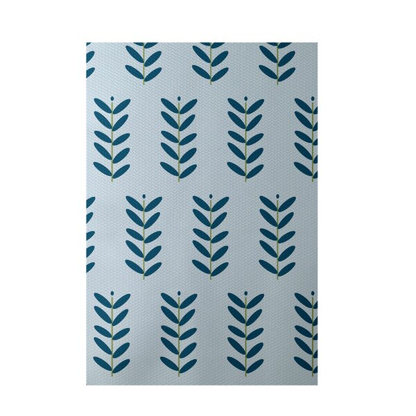 Floral Light Blue Indoor/Outdoor Area Rug by e by design