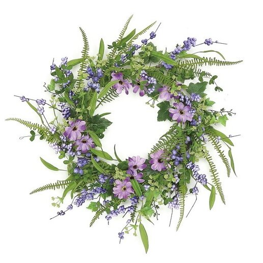24 Daisy and Mixed Berry Wreath by Northlight Seasonal