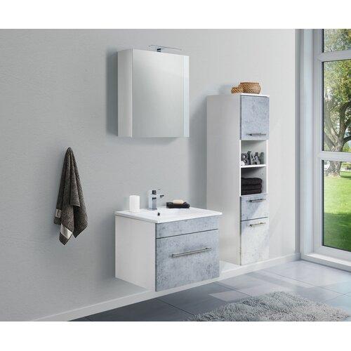 Viva 3-Piece Bathroom Furniture Set Belfry Bathroom Furniture Finish: Concrete Grey/White