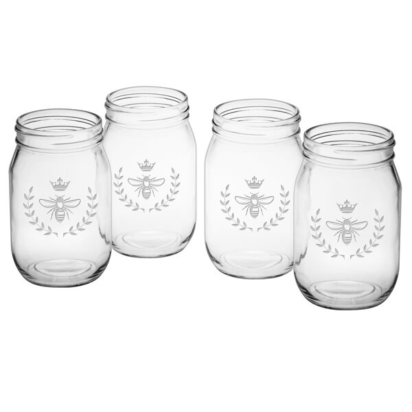 Vintage Bee 16 oz. Drinking Jar (Set of 4) by Susquehanna Glass