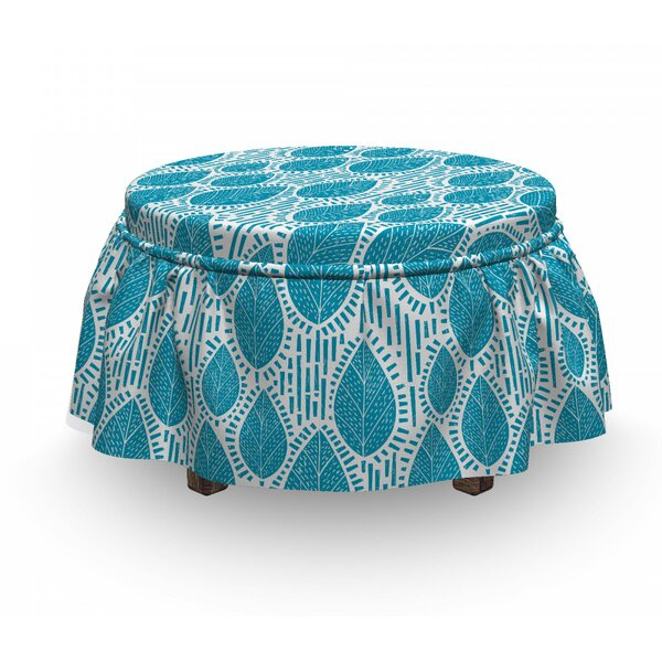 Leaf And Stripes Ottoman Slipcover (Set Of 2) By East Urban Home