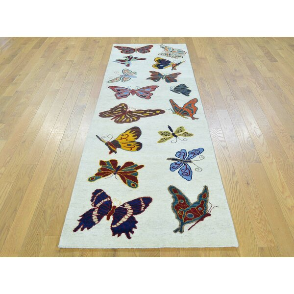 One-of-a-Kind Blanton Butterflies of the Amazonas Hand-Knotted Ivory Wool Area Rug by Isabelline