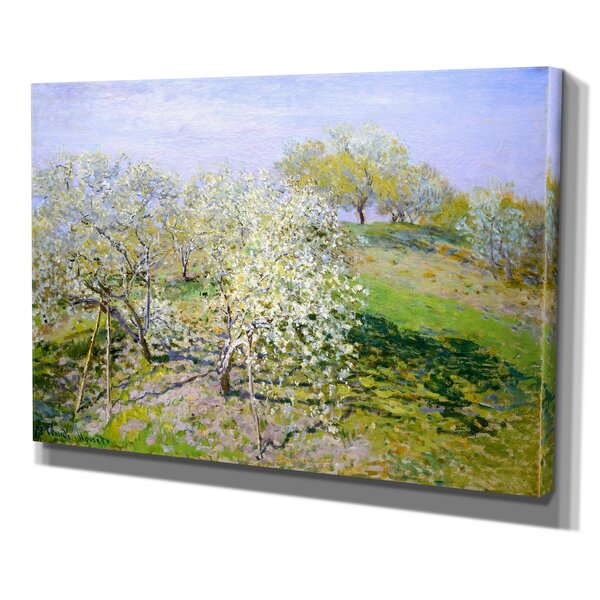 Apple Trees in Bloom by Claude Monet Oil Painting Print on Canvas by Wexford Home