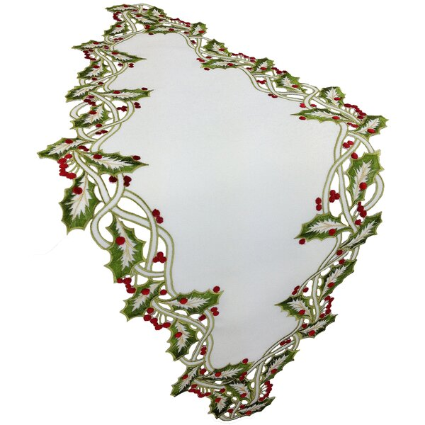 Holiday Holly Embroidered Cutwork Table Runner by The Holiday Aisle