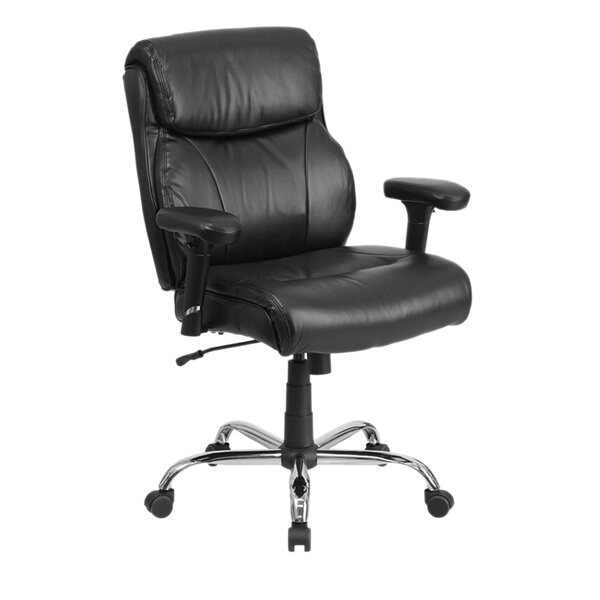 Ash Swivel Mid-Back Leather Executive Chair by Latitude Run