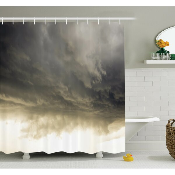 Nature Cloudy Sky Hurricane Shower Curtain Set by Ambesonne
