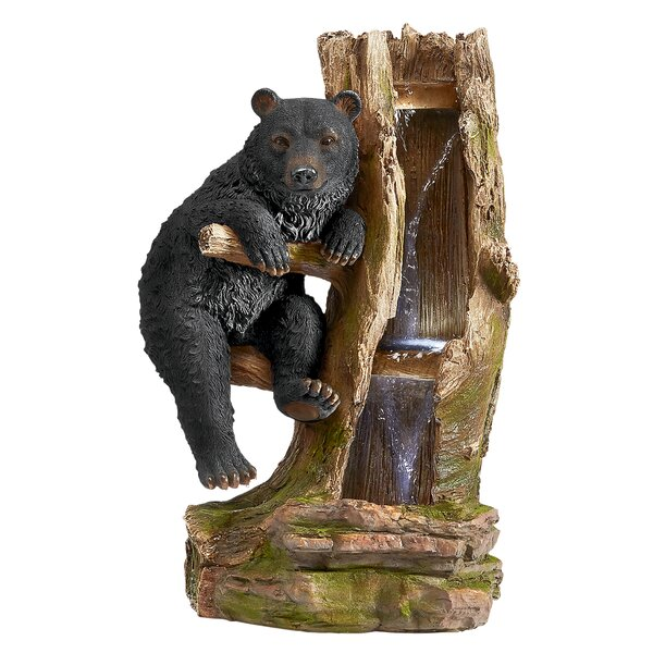 Resin Black Bear Cascading Sculptural Fountain with LED Light by Wildon Home ®