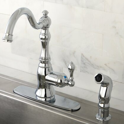 Kingston Brass American Classic Single Handle Kitchen Faucet with ...